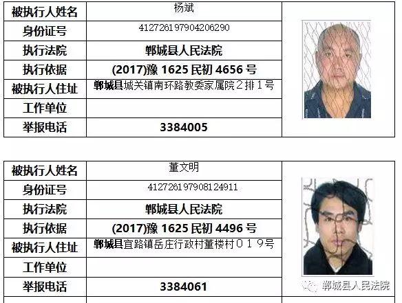 """【实名曝光】郸城这些人被列入""""失信黑名单""""!(附名单) 黑名单 第3张"""