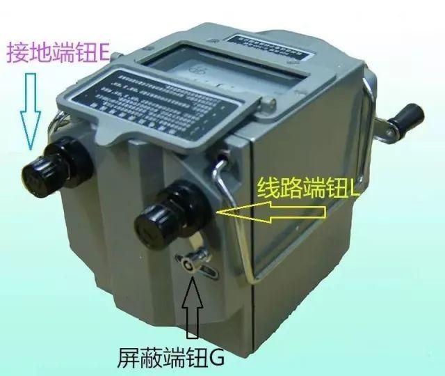 摇表的使用 1)摇表的接线 摇表有三个接线端钮,分别标有l(线路),e
