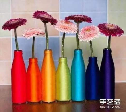废弃玻璃瓶绕线diy制作漂亮花瓶的方法步骤图片