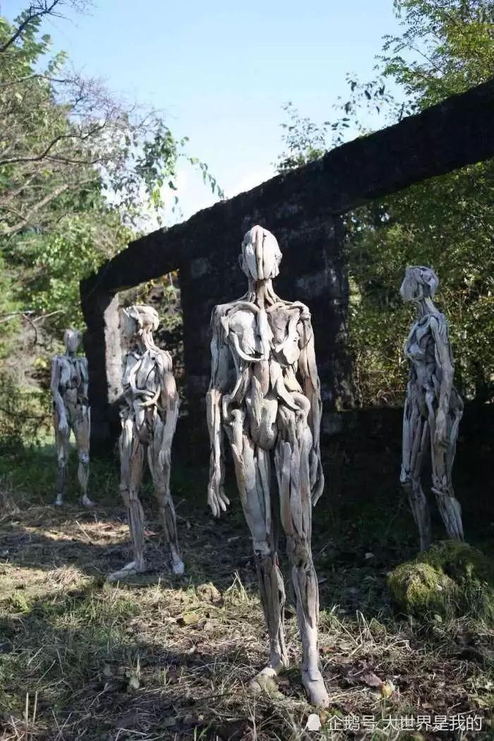 1oo人体艺术_男子耗时15年堆积5千亩枯木组建人体艺术品,细看了不起