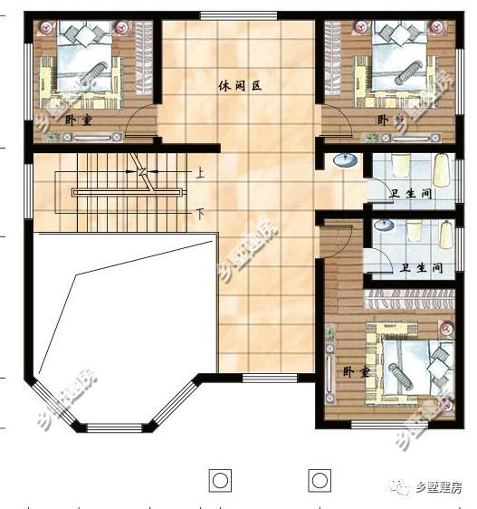 二层平面设计图:挑空客厅上空,三间卧室,休闲区,卫生间.