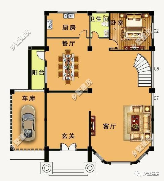 一层平面设计图:进门是个玄关设计,左边带个车库,带阳台的餐厅,一间