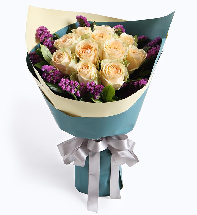 11朵香槟玫瑰花束/你和我的倾城时光