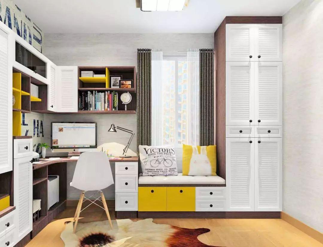 卡座连接着书桌与储物柜,不影响房间的采光,也增添了空间的独特性图片