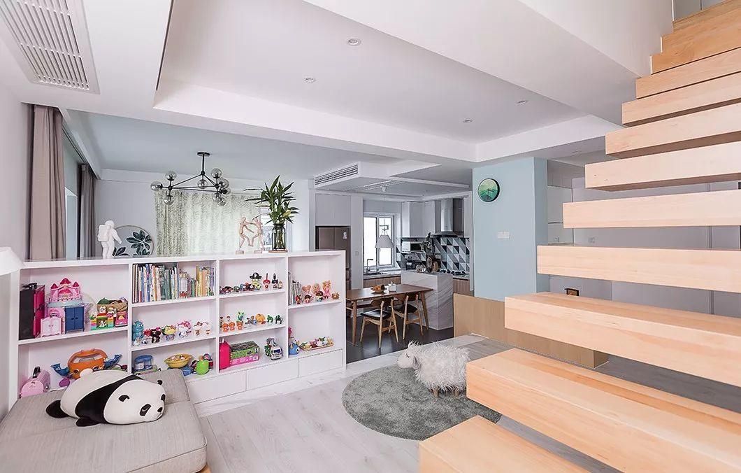 190㎡惬意的北欧风复式装修,这样的楼梯设计你确定见过?图片
