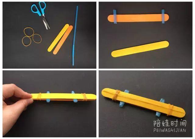 小鸡叫声的乐器 冰棒棍口琴 准备材料:雪糕棒,橡皮筋,稍硬的纸片+牙签