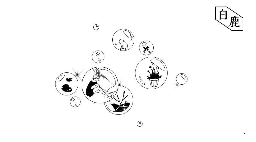食物黑白元素手绘