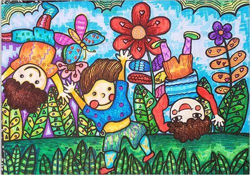 儿童画《放学路上》图片