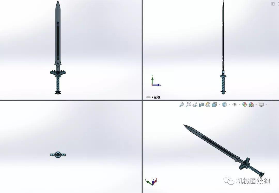 【武器模型】goddess宝剑模型3d图纸 solidworks设计