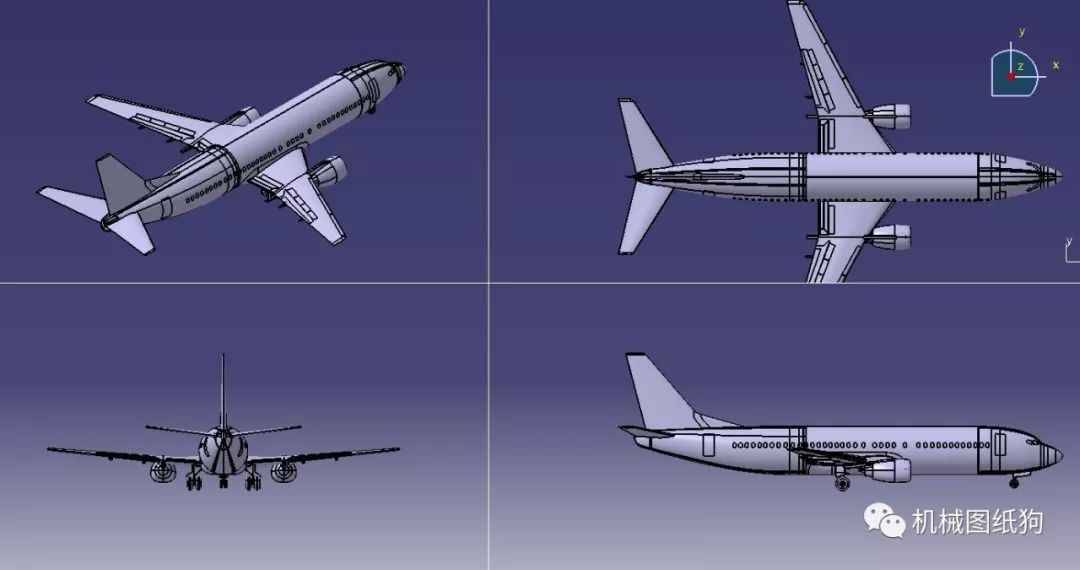 【飞行模型】波音737-400飞机简易模型3d图纸 stp格式