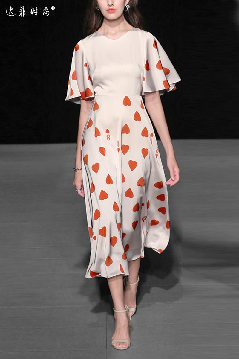 2018夏装新款女装欧美时尚个性印花荷叶袖收腰显