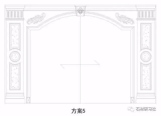 石材背景墙效果图及cad图展示