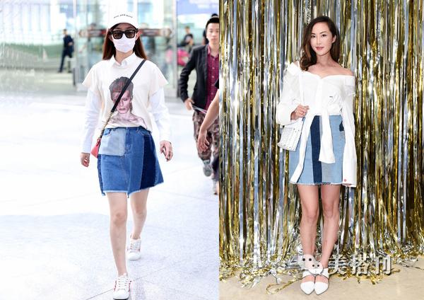 佟丽娅林志玲等明星都在穿的拼接牛仔裙,很适合通勤的你