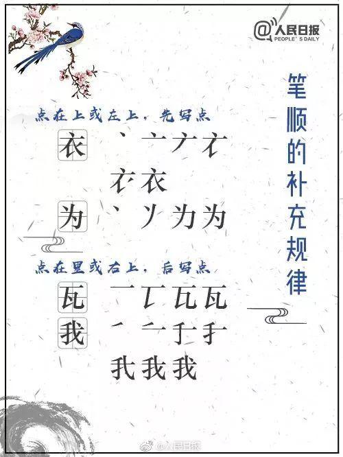 下面是国家规定的汉字笔顺规则,