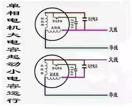 220v交流单相电机启动方式以及接线图图片