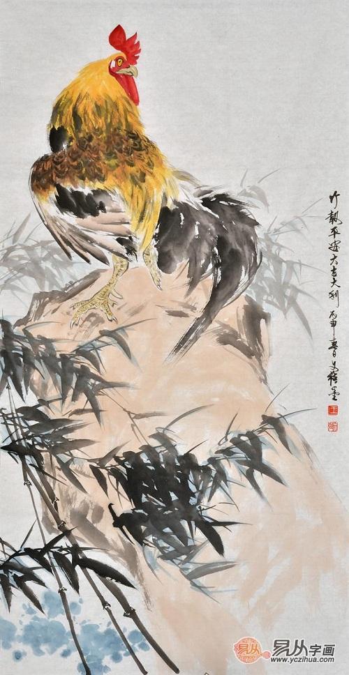 国画欣赏:名家王文强笔下的雄鸡图