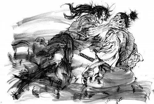 古代剑客背影手绘