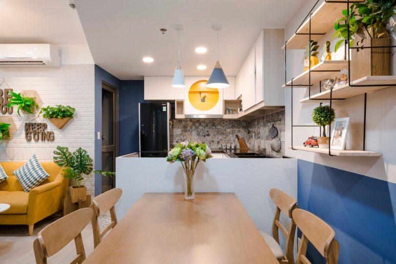 越南胡志明60平活力多彩公寓装修设计