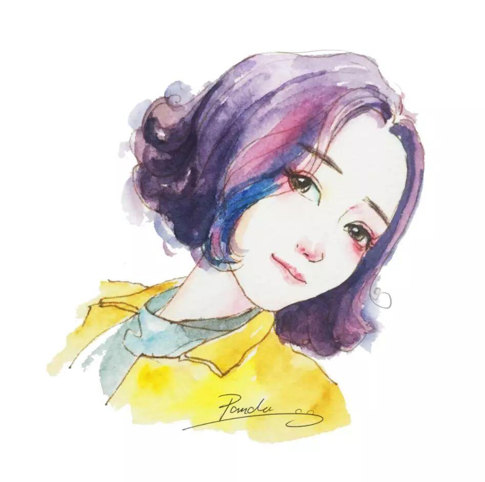 超清新唯美的水彩人物插画,大爱 果断的换头像
