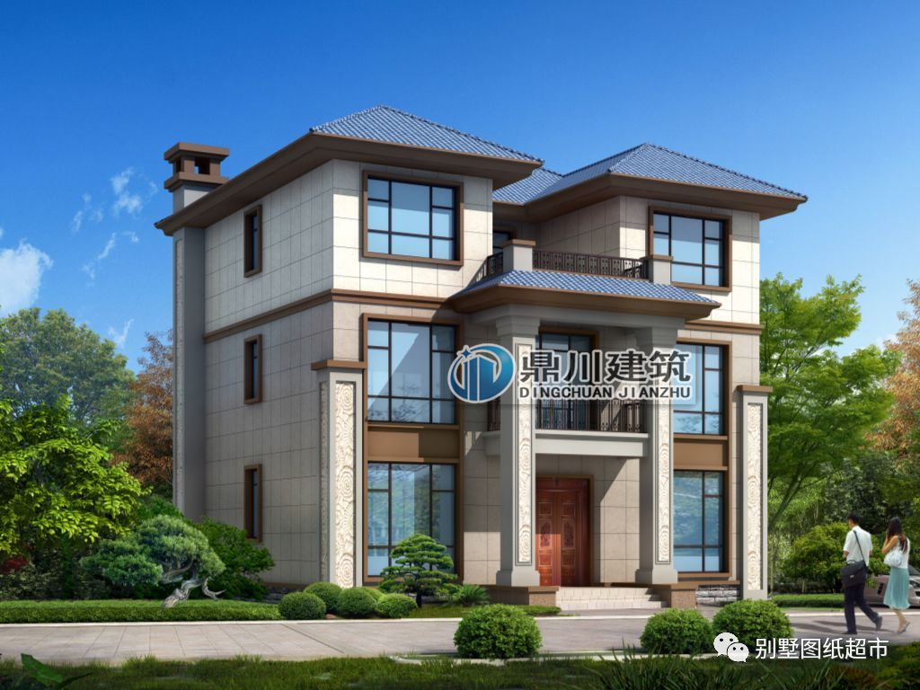 新中式带堂屋三层农村别墅,好看实用,返乡建房非它莫属!