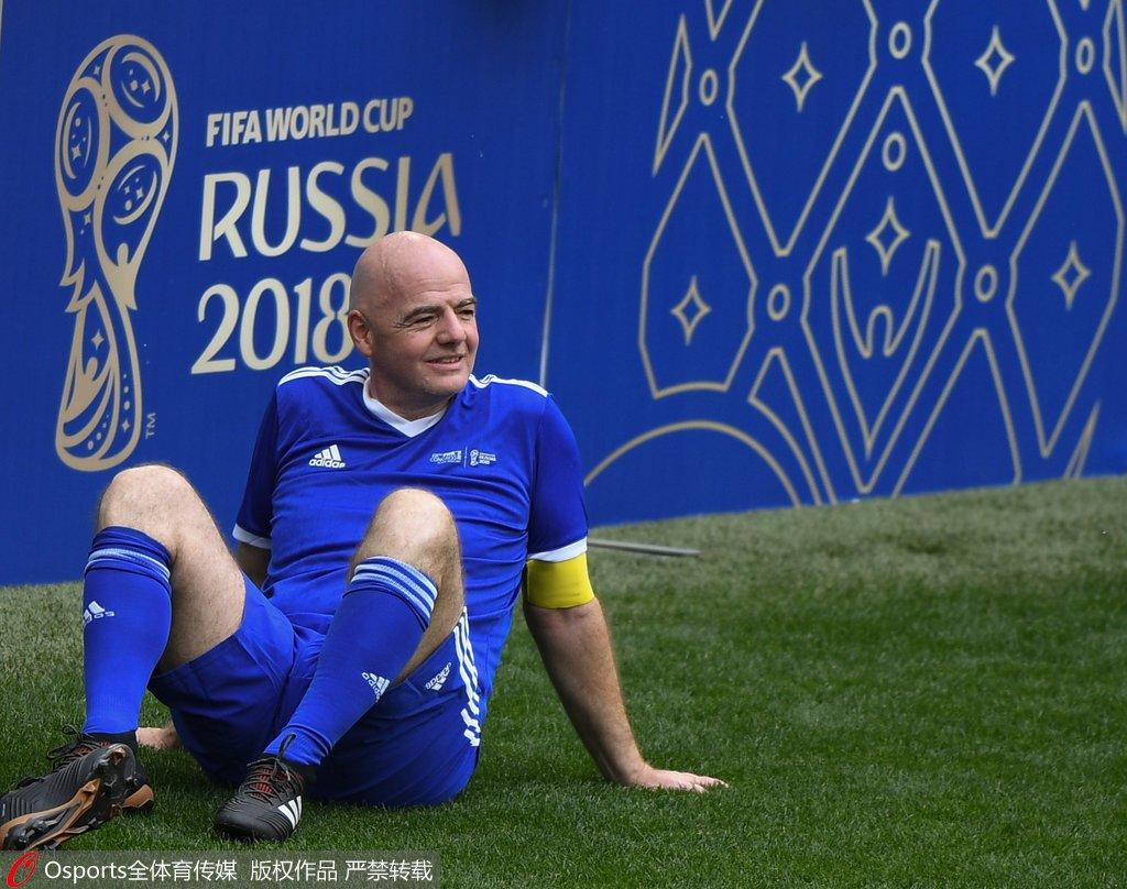 高清图:国际足联主席因凡蒂诺携众球星预热世界杯