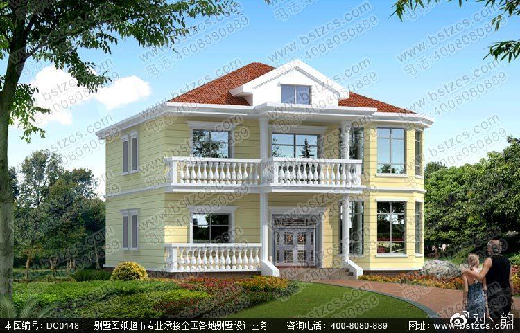 新农村二层别墅设计效果图及施工图