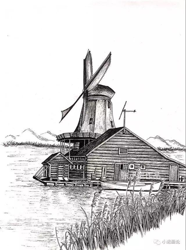 钢笔画教程 |【黑白风景绘】风车小筑