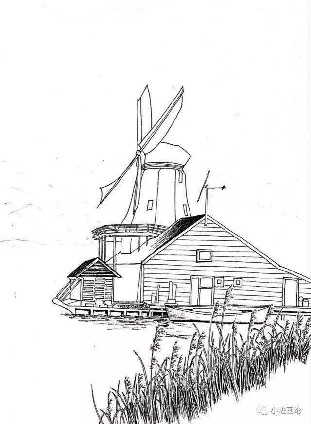 钢笔画教程 风车小筑