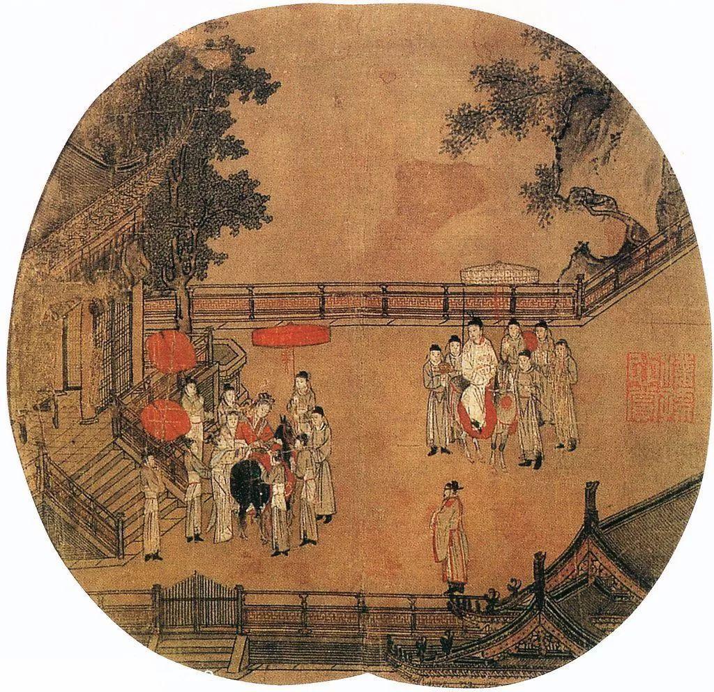 多幅传世 杨妃上马 图中,这幅应是最接近唐画原貌的