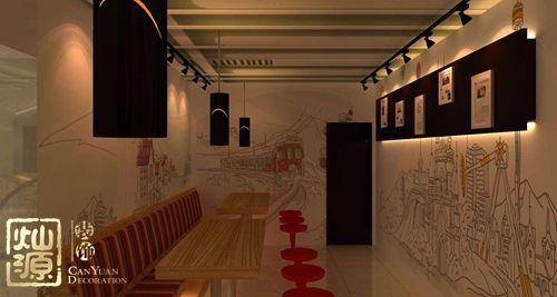 对于甜品店来说,它的天花板的髙度要根据营业面积来定,2.4到3米不等.图片