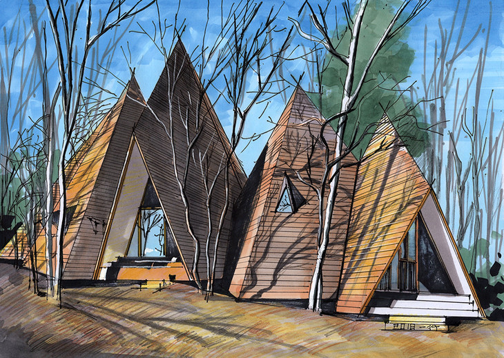 帐篷住宅建筑手绘步骤临摹图昆明手绘培训【一行手绘】