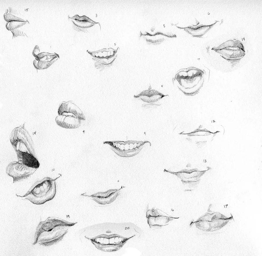 动漫嘴巴手绘线稿
