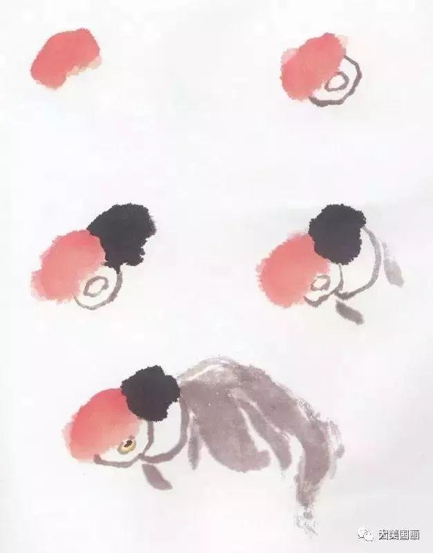 图文教程:国画鱼的写意画法,国画初学者鱼的各种画法图片
