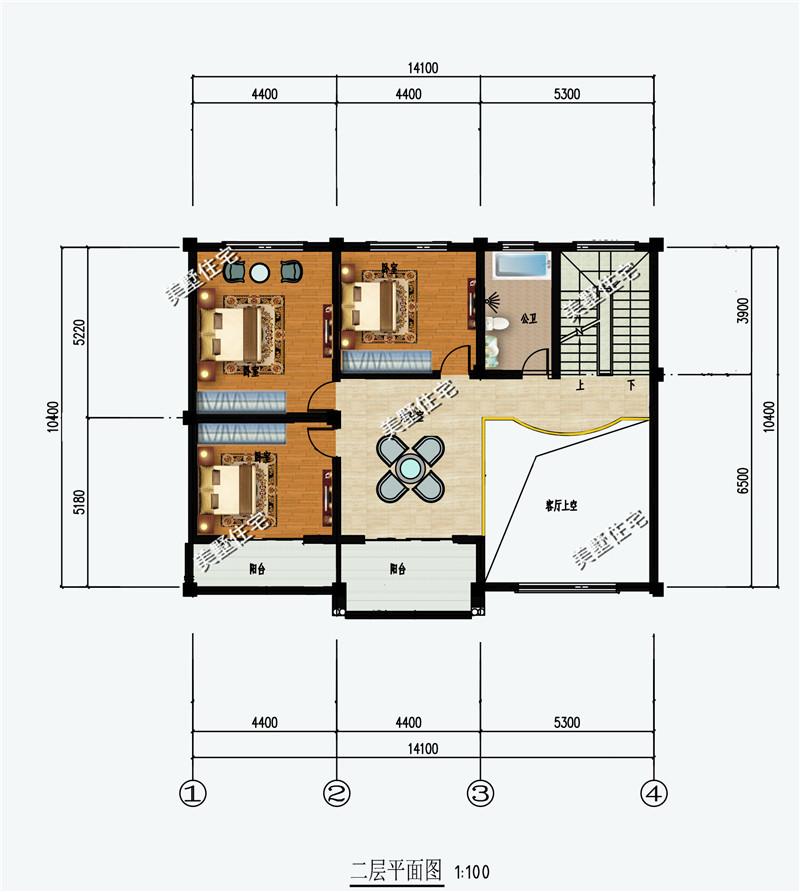 14x10米农村自建房别墅,8室2厅大露台,真石漆外观效果