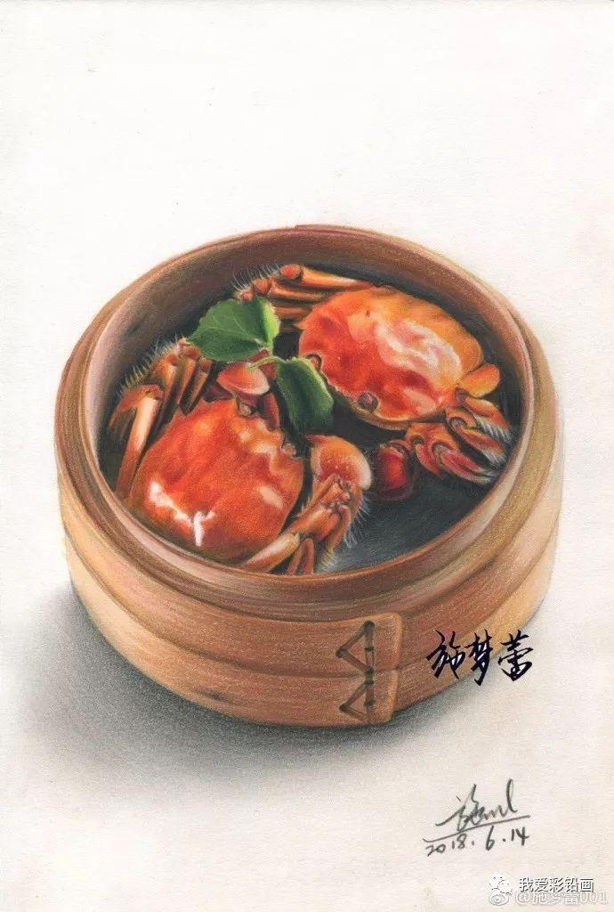 看饿了!彩铅手绘美食——大闸蟹