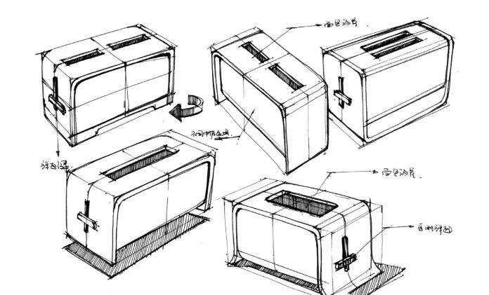 小家电手绘图文教程,教你波士炉 面包机 绘制方法图片