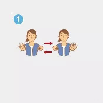 """①双手手腕向前伸直,举到胸前的高度,右手做""""布""""的姿势,左手做""""石头""""图片"""