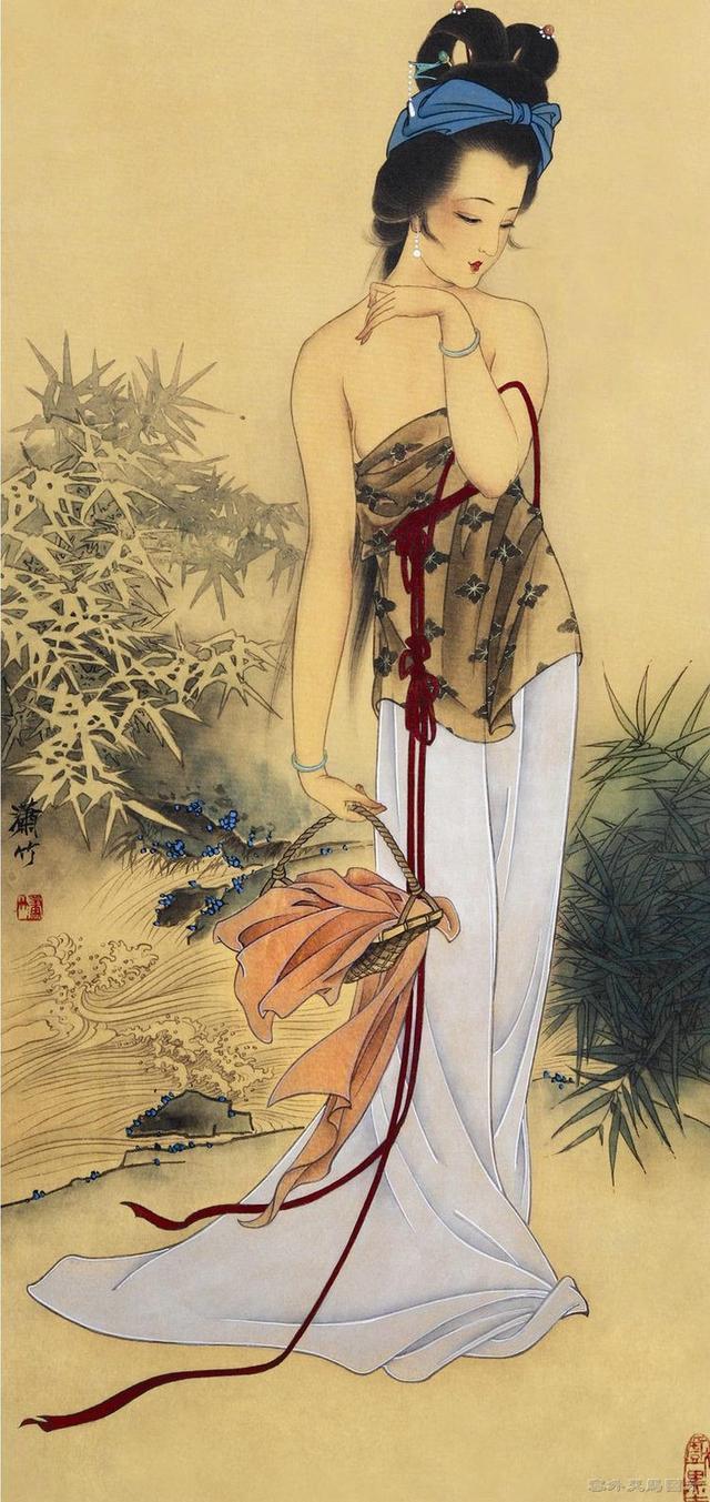 中国工笔画的艺术意境,人体工笔画里的古典美女欣赏,美的不像画