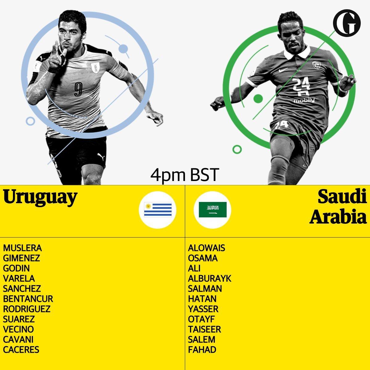 乌拉圭VS沙特首发:苏神卡瓦尼领锋线戈丁登场