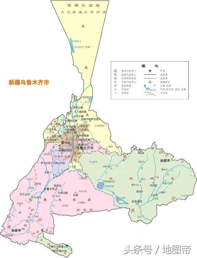 乌鲁木齐市地图_地图上看新疆昌吉,为何被乌鲁木齐分为东西两半?