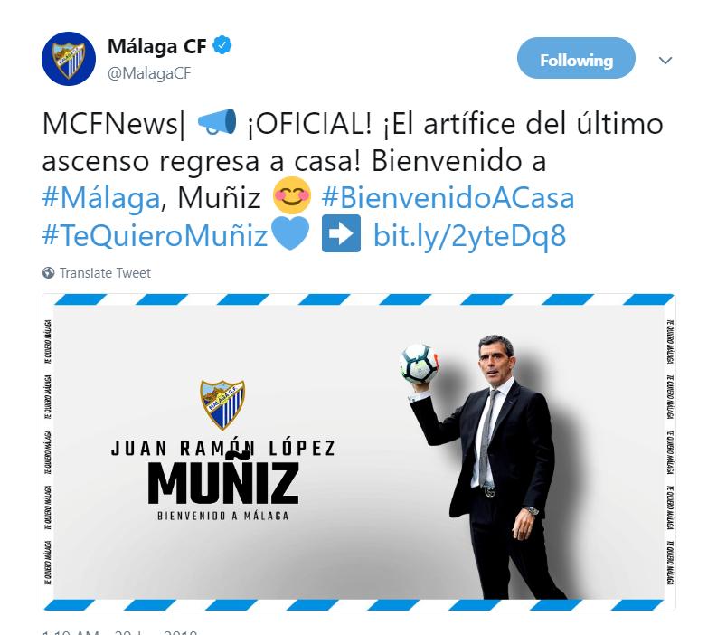 官方:穆尼斯再次执教马拉加,已是第三次接手