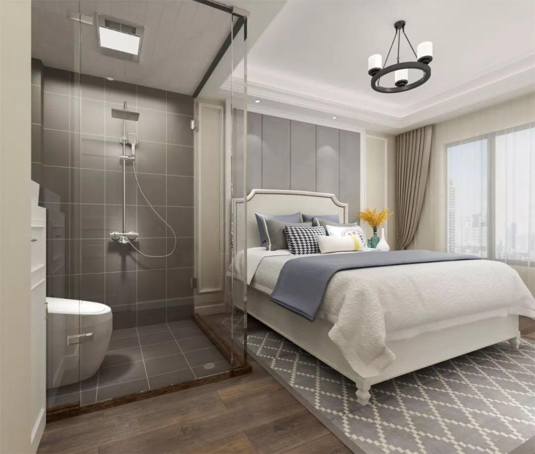 主卧拆除原有墙体,改造成玻璃隔墙做成酒店式卫生间,淋浴房+马桶配置