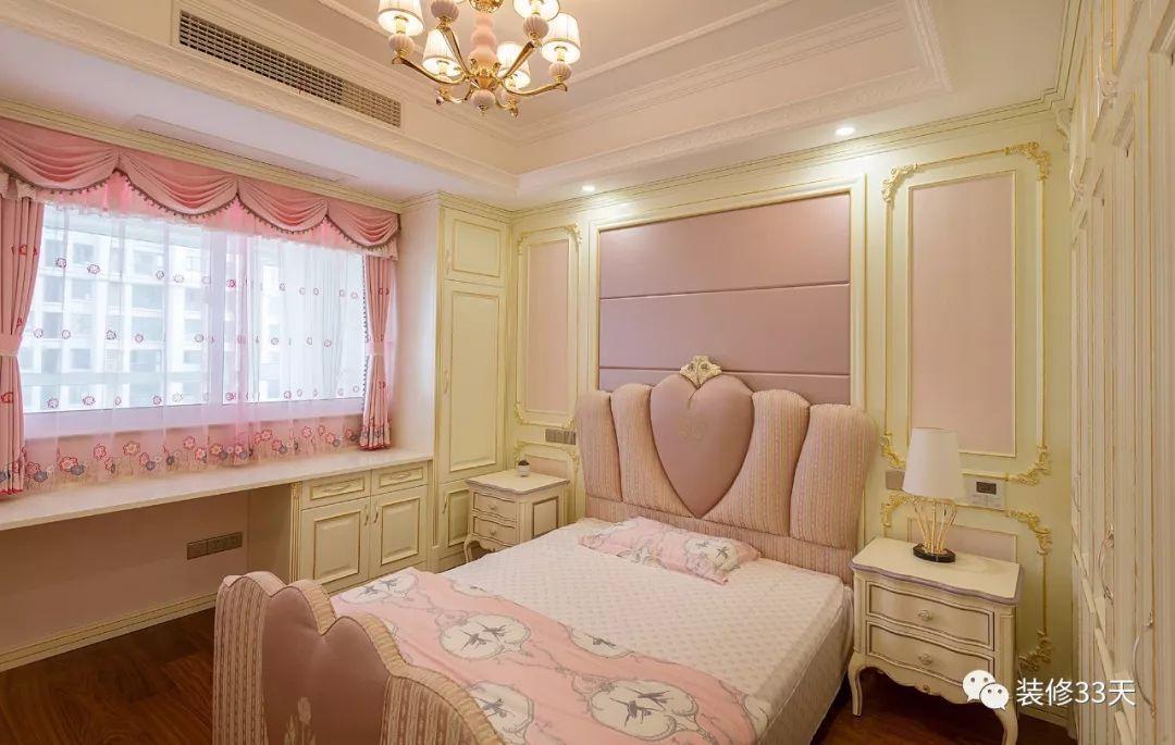 儿童房粉调硬包搭配暖黄色护墙,打造温馨背景墙,软装延续粉色调性