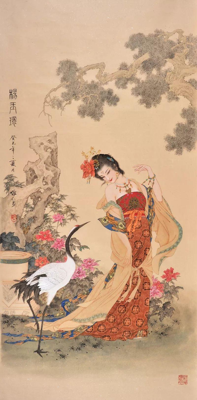 【国画】工笔重彩人物画赏析(8幅大图) 兰质蕙心、 貌美如花