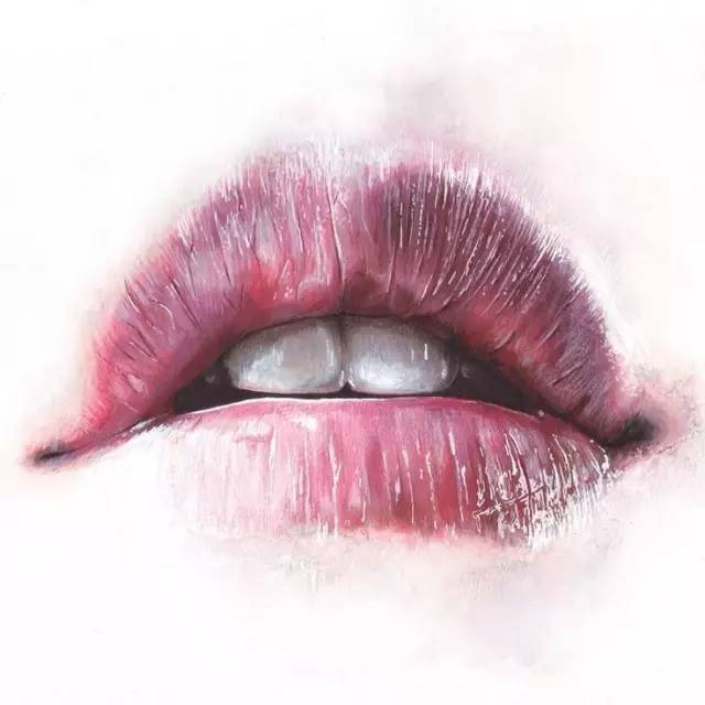 手绘彩铅人物嘴巴