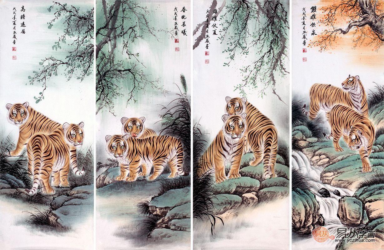 肖亚威四尺横幅动物画经典工笔虎《盛世雄风》