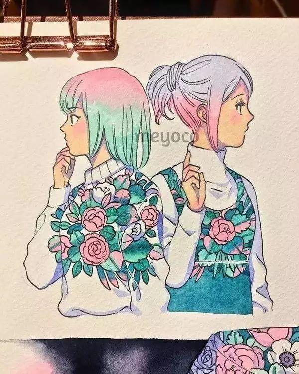 插画,每一个身上长草的人,头上都开满了花