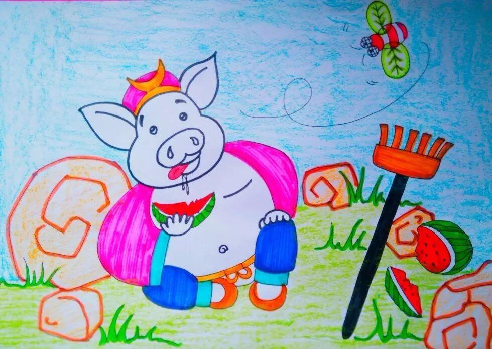 一张白纸 通过十几分钟的绘画魔法 就变成一个超可爱的猪八戒的吗 那图片