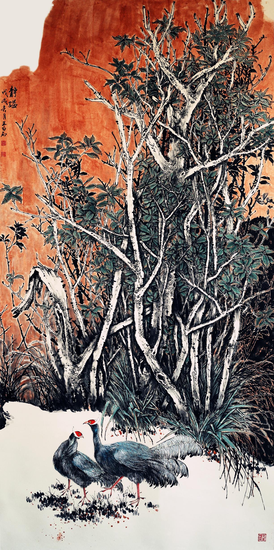 《聚翠流声》入围尚意·2017 全国中国画 ( 写意 ) 作品展.图片