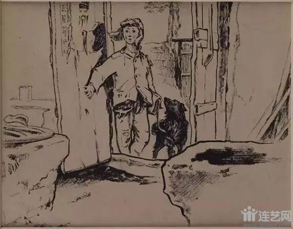 我要读书 作者:王绪阳、贲庆余  创作年代:1956  规格:16×20cm